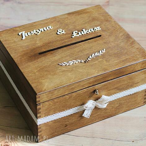 pudełko z kluczykiem - gałązka i koronka, drewno, pudełko, eko, rustykalne