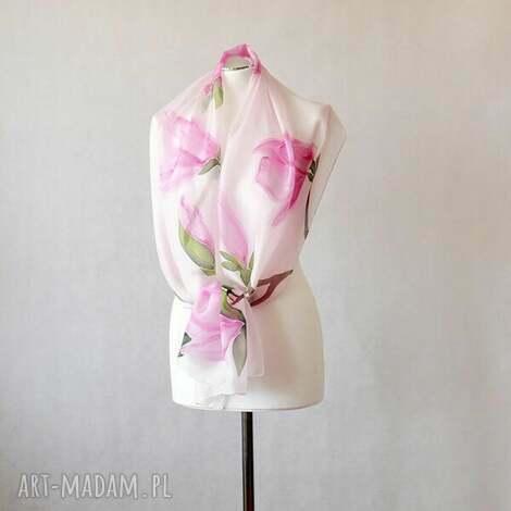 jedwabny malowany szal - magnolie - różowe magnolie, szal jedwabny
