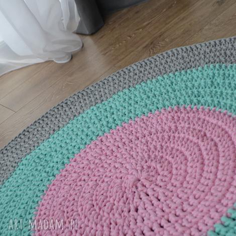 dywan bawełniany pastel 80cm ze sznurka - kolorowa manufaktura, dywan, szydełko