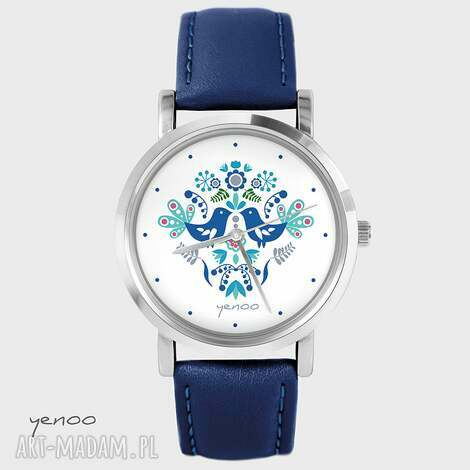 zegarek, bransoletka - folkowe ptaszki, niebieskie granatowy, skórzany, zegarek