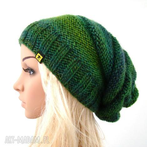 długa czapka w zieleniach, czapeczka komplet, prezent, jesień zima
