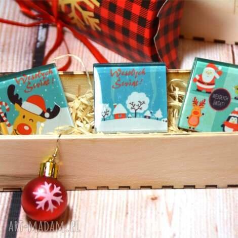 magnesy zestaw szklanych magnesów - trzy sztuki w drewnianym pudełku, szkło, magnes
