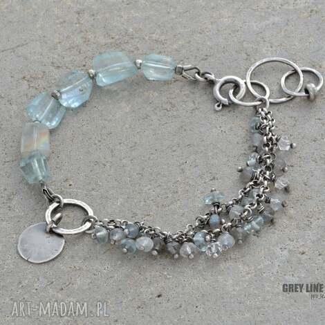 bransoletki bryłki i oponki bransoletka srebrna, srebro, akwamaryn, kamień