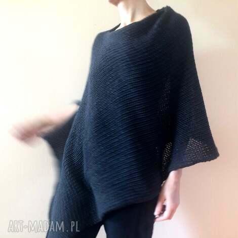 ponczo z grubej bawełny, ponczo, tunika, sweter, narzutka, bawełna, luźna