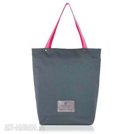 torebka shopperka 898, shopperka, zakupowa, szara, duża, rękodzieło na ramię torebki