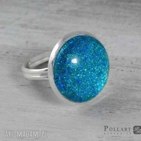 pierścionek z kaboszonem, ręcznie malowany, pierścionek, kaboszon, pollart