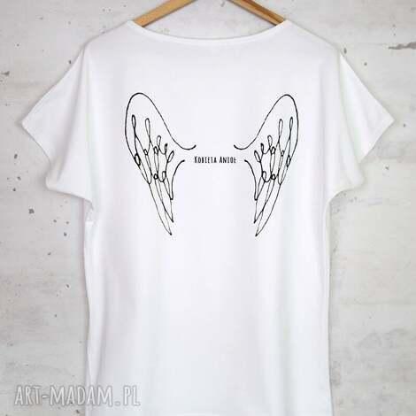 bluzki kobieta anioł koszulka bawełniana biała, bluzka, koszulka, bawełna, nadruk