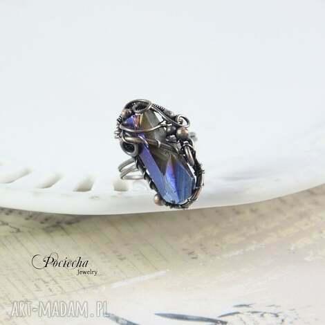 aurora - duży pierścionek z kwarcem tytano, kwarc, tytanowy, miedź, kryształ, natura