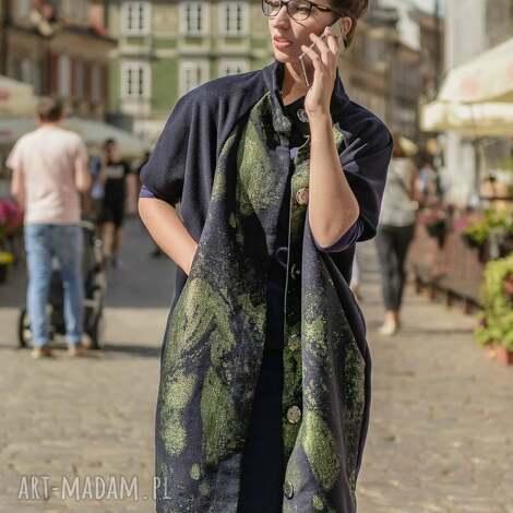 płaszcz narzutka lana camaleonte - zielony, kameleon, jesienny, zapinany, wełniany