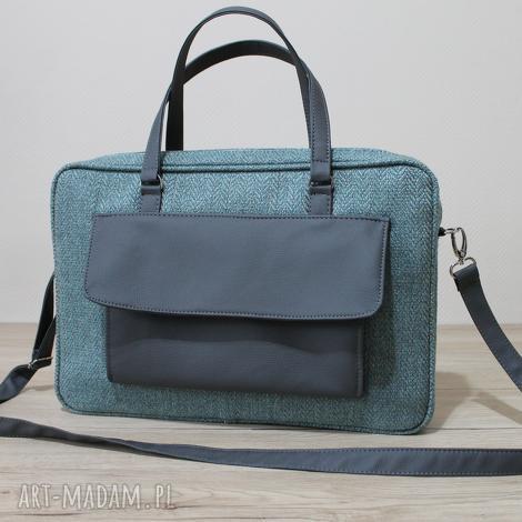 torba na laptop - jodełka aqua i skóra stalowa, elegancka, prezent, święta