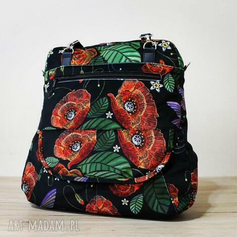 plecak torba listonoszka - maki, kwiaty, kolibry, plecak, prezent, święta