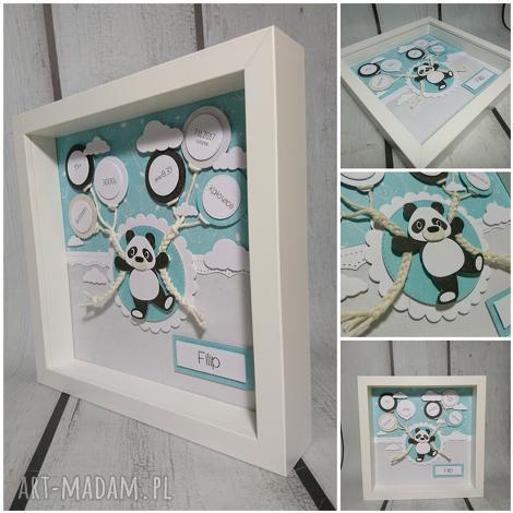 metryczka - panda w mięcie, urodziny chrzest narodziny