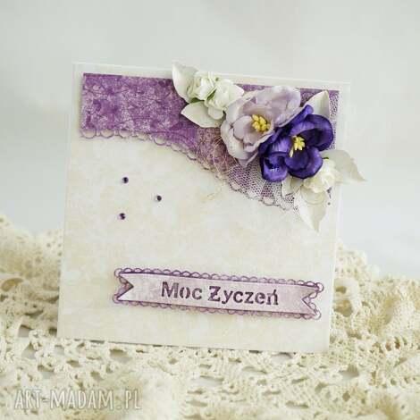 kartka urodzinowa - fioletowa, z pudełkiem - kartka, kartka urodzinowa