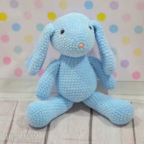 szydełkowy mały króliczek z dedykacją, królik, błękitny, szydełkowy, niebieski