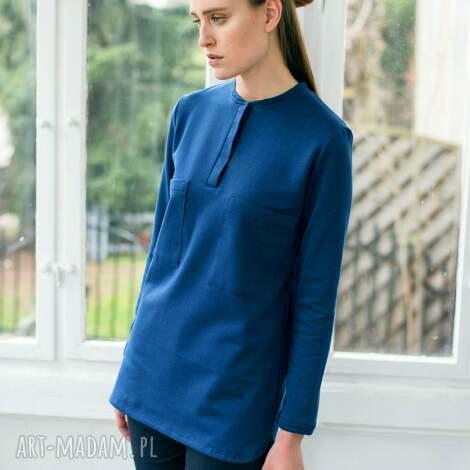 paryżanka tunika, oversize, niebieski, moda, bawełna, casual tuniki