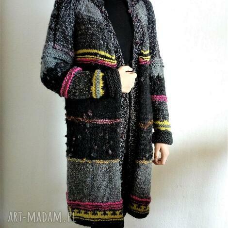 swetry długi sweter w stylu boho, sweter, kardigan, na drutach, grubysweter
