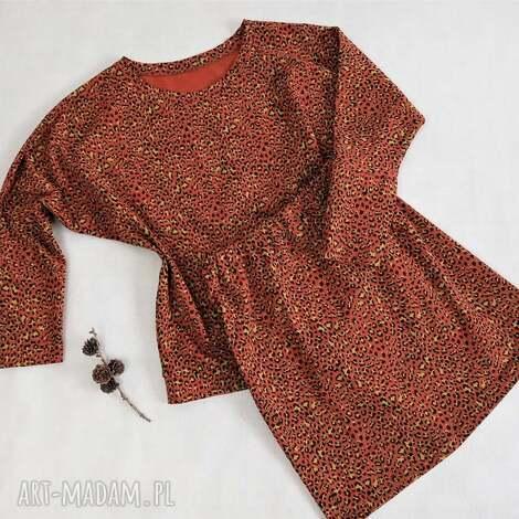 bluzki komplet w panterkę s/m, bawełnana bluza, spódnica ołówkowa, bluza kimono