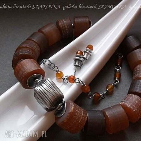 surowe rudzielce komplet biżuterii z karneoli i srebra, karneol, srebro, oksydowane