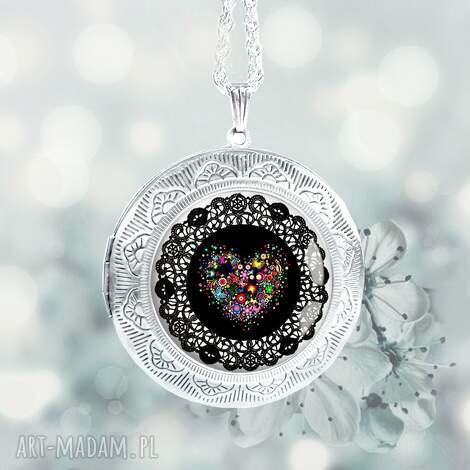 serce boho stylowy otwierany medalion na prezent, sekrernik, duży, srebrny, serduszko