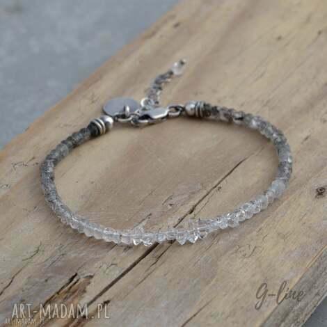 kwarc rutylowy i diamenciki z herkimer srebrna bransoletka, kwarc, herkimer, srebro