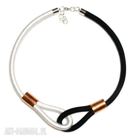 black white - modny, naszyjnik, dwukolorowy, minimalistyczny, oplatany