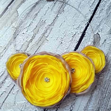 kwiatowa kolia naszyjnik z kwiatów słoneczny - wieczorowy, naszyjnik, kwiaty