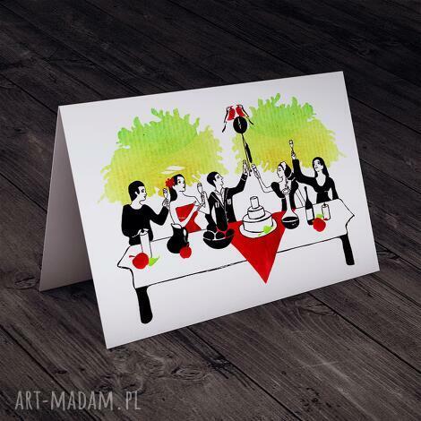 ślubna karteczka, ślub, uroczystość, akwarela, kartka, okolicznościowa, wesele