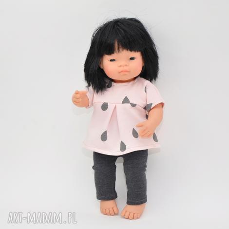 ubranka dla lalek, tunika w krople legginsy, ubranka, miniland dziecka