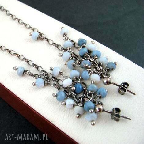 kolczyki opal niebieski, biżuteria