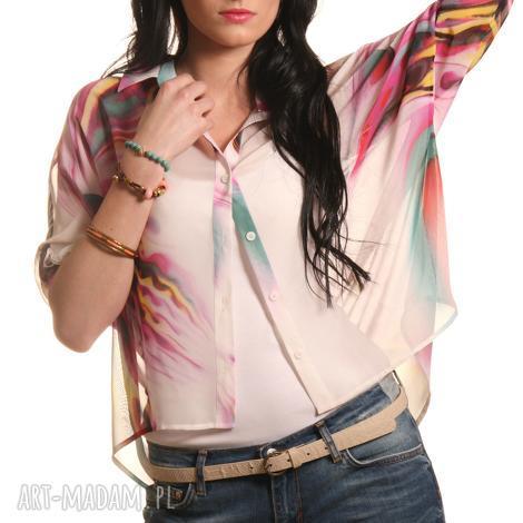 wzorzysta koszula z kimonowym rękawem, guziki, asymetryczna, wzorzysta, lekka