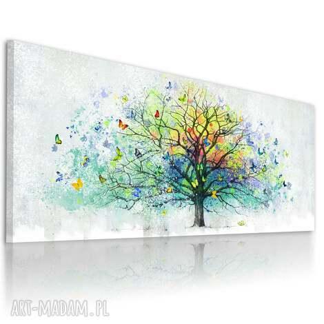 obraz drukowany na płótnie - abstrakcyjne drzewo z motylami 150x60cm 025489
