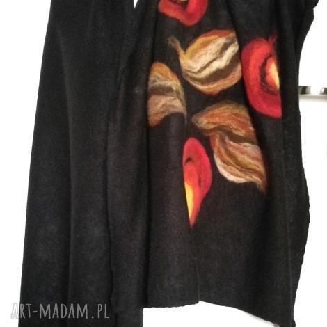 czarny szal damski zimowy z wełną merynosów handmade- komin ciepły