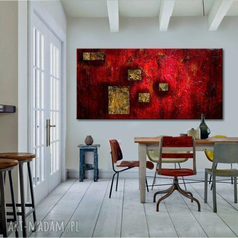 dekoracje duży obraz do salonu, abstrakcyjny, czerwona dekoracja, modne wnętrze