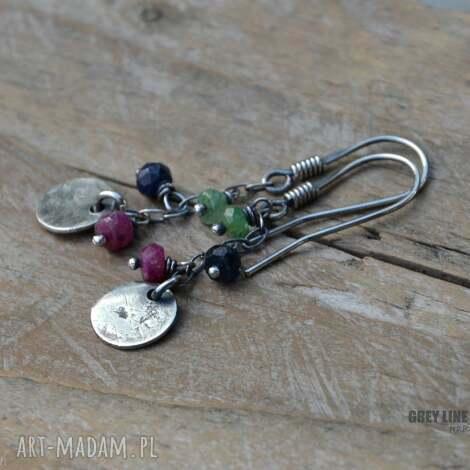 kolczyki małe szlachetne, srebro, rubin, szafir, szmaragd, wiszące