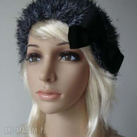 srebrzysta - beret, ciepły, fantazyjny, ekstrawqagancki