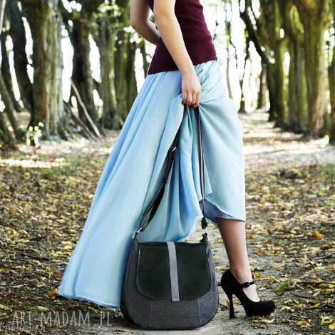 sashka - torebka na ramię czerń i grafit, listonoszka, modna, oryginalna, prezent