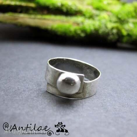 plokste - srebro, srebro oksydowane, pierścionek