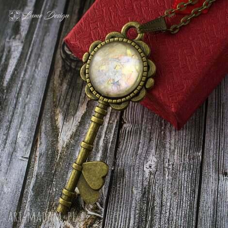 wisiorki wisior klucz, medalion, długi, serce, steampunk, vintage biżuteria