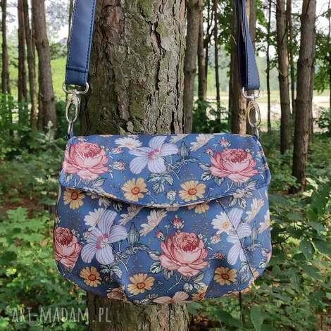 torebka z klapką - kwiaty vintage, elegancka, nowoczesna, pakowna, prezent