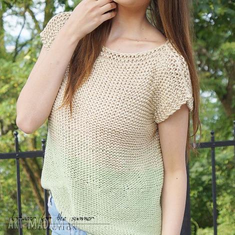 bluzki cieniowana z zielenią, top, dziergana, cieniwana, len