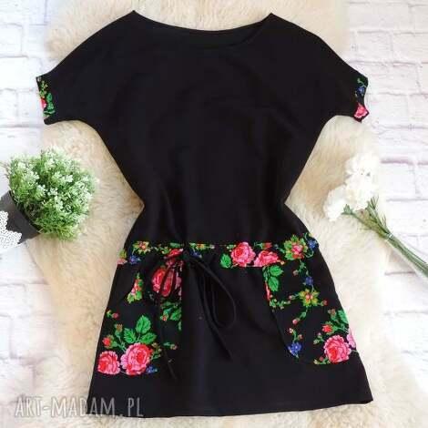 dresowa sukienka w stylu folk kwiaty, sukienka, folkowa, folk, góralska