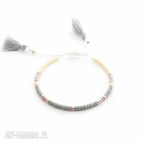 bransoletka minimal - gray and cream, bransoletki, minimal, minimalistyczna, chwosty