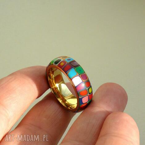 kolorowa obrączka, stal z polymer clay - obrączki, pierścionki, kolorowe