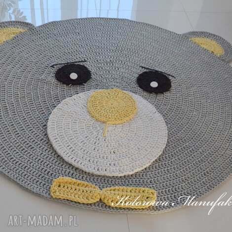 dywan miś szaro - żółty 100cm - dywan, miś, muszka, dziecko, dywanik