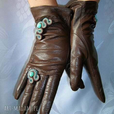 rękawiczki ze skóry naturalnej z sutaszem - turkus, prezent, zima, skóra