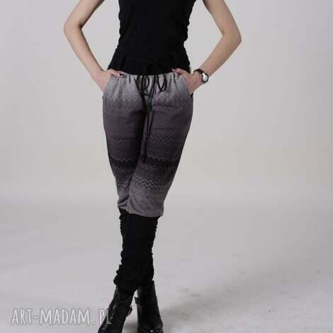 spodnie etniczny wzór, wygodne ze ściągaczem, dzianina spodnie, długie