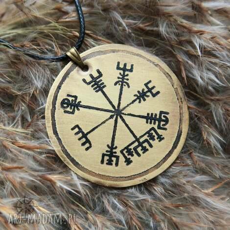 wisior z trawionego mosiądzu - vegvisir 061 - wiking, wikingowie, kompas, runa