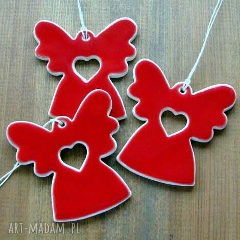 czerwone aniołki, anioł, aniołek, zawieszka, upominek, ślub, prezent ceramika