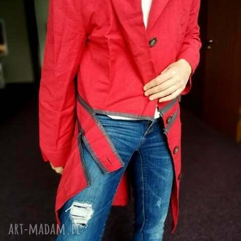 płaszcz czerwony damski bawełna z płótnem handmade rozmiar m l