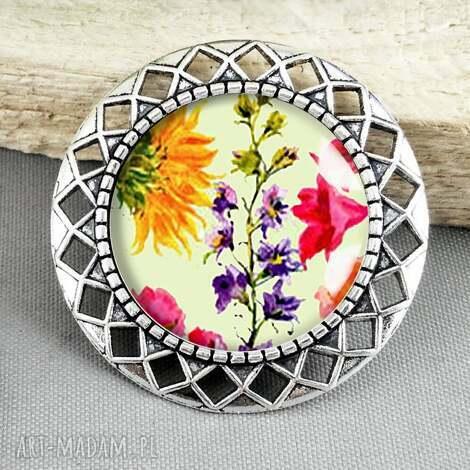 kolorowe lato- piękna kolorowa stylowa broszka - brocha, pin, przypinka, stylowe